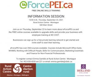 eForcePEI Information Session @ Montague Rural Action Centre