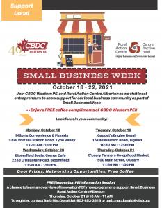 CBDC Western PEI / RAC Alberton - Celebrates Small Business Week!